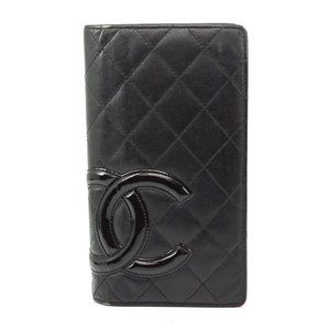 Auth Chanel Long Wallet Black Leather #6221C12